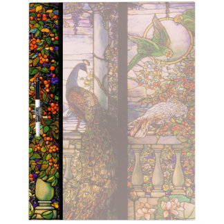 Art Nouveau Stained Glass Peacock Parrot Birds Dry Erase Whiteboards