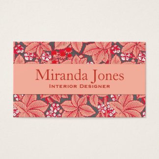 Art Nouveau Strawberries and Leaves, Coral Orange Business Card