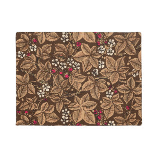 Art Nouveau Strawberries and Leaves, Dark Brown Doormat
