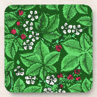 Art Nouveau Strawberries and Leaves, Emerald Green Beverage Coaster