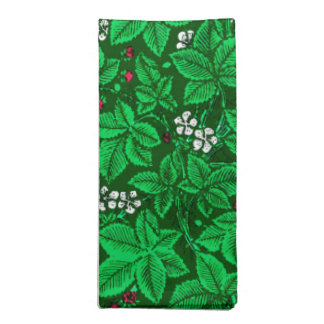 Art Nouveau Strawberries and Leaves, Emerald Green Napkin