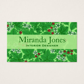 Art Nouveau Strawberries and Leaves, Lime Green Business Card
