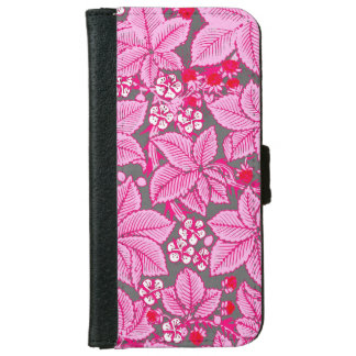 Art Nouveau Strawberries and Leaves, Pink and Gray iPhone 6 Wallet Case