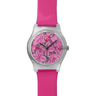 Art Nouveau Strawberries and Leaves, Pink and Gray Watches