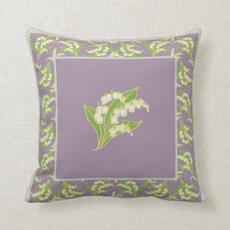 Art Nouveau Style Lilies-of-the-Valley on Mauve Throw Pillow