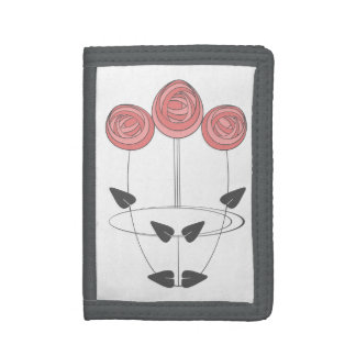 Art Nouveau Style Rose Bouquet in Pink and Grey Trifold Wallet