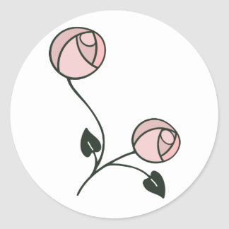 Art Nouveau Style Roses in Pink and Mauve Classic Round Sticker