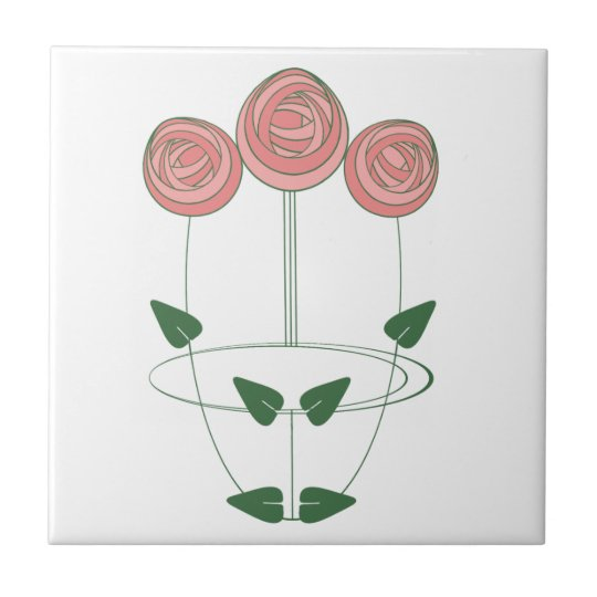 Art Nouveau Style Roses Trio in Shades of Pink Small Square Tile