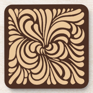 Art Nouveau Stylized Leaves, Tan and Dark Brown Coaster