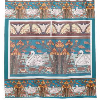 Art Nouveau Swan Birds Wildlife Animals Irises Shower Curtain