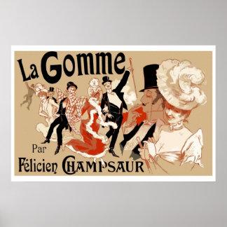Art Nouveau Theatre play ad  La Gomme Poster