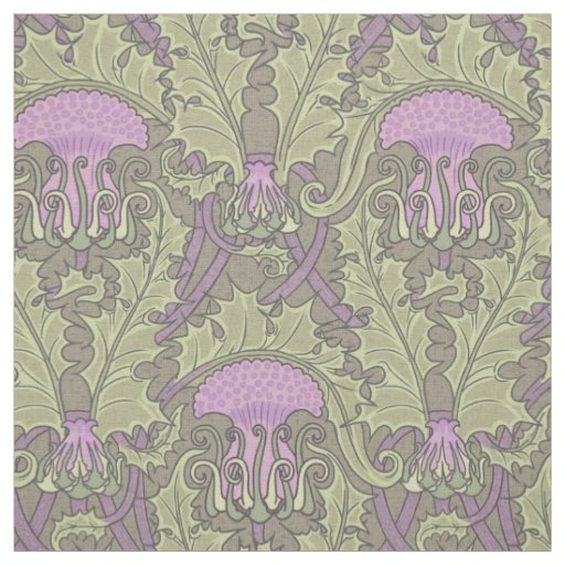 Art Nouveau Thistle Damask Fabric