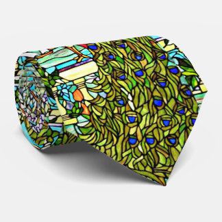 Art Nouveau Tiffany Stained Glass Window Peacock Tie