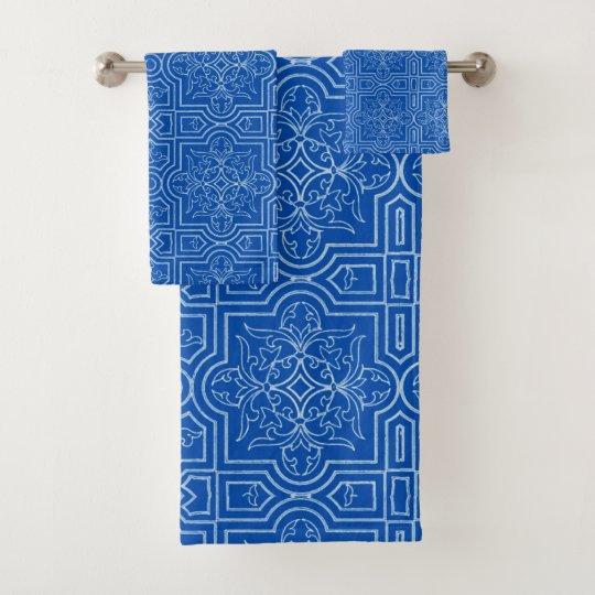 Art Nouveau tiles in cobalt blue Bath Towel Set | Zazzle.co.uk