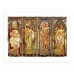 Art Nouveau Times of Day Postcards
