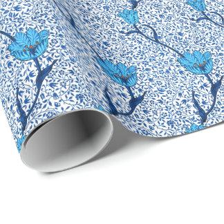 Art Nouveau Tulip Damask, Cobalt Blue Wrapping Paper