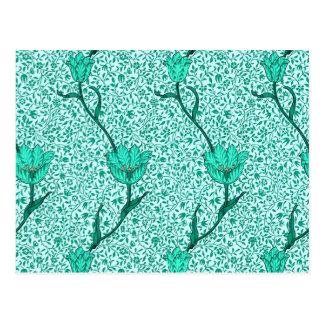 Art Nouveau Tulip Damask, Turquoise Postcard