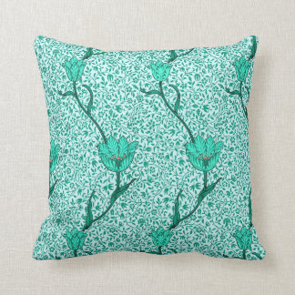 Art Nouveau Tulip Damask, Turquoise Throw Pillow