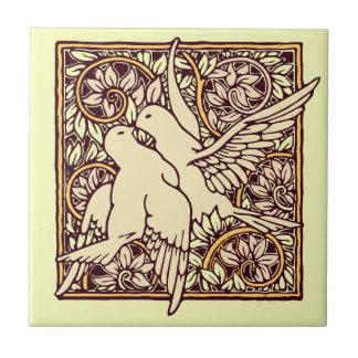 Art Nouveau Turtle Doves Small Square Tile