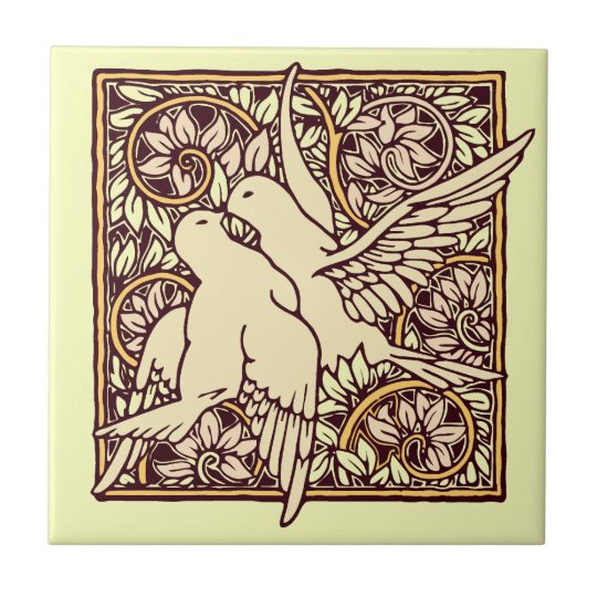 Art Nouveau Turtle Doves Small Square Tile