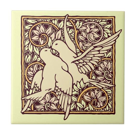 Art Nouveau Turtle Doves Tile