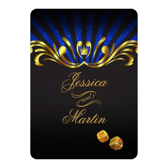 Art Nouveau Vegas Wedding | gold blue Card