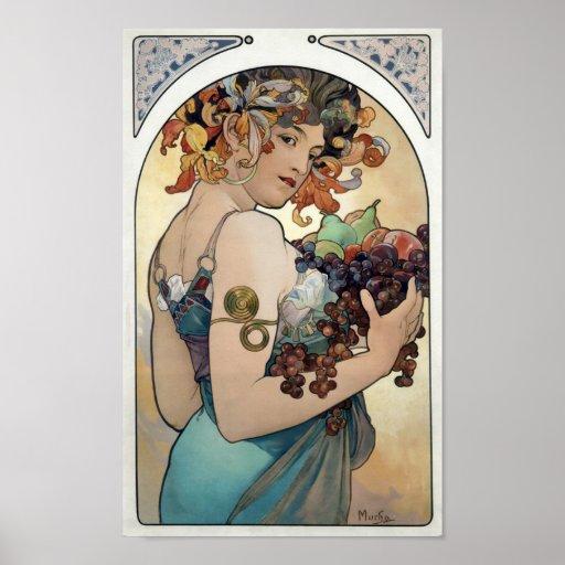 """Art Nouveau vintage 1897 """"Fruit"""" by Alphonse Mucha"""