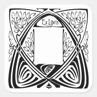 Art Nouveau Vintage Ex Libris Bookplate Labels Square Sticker