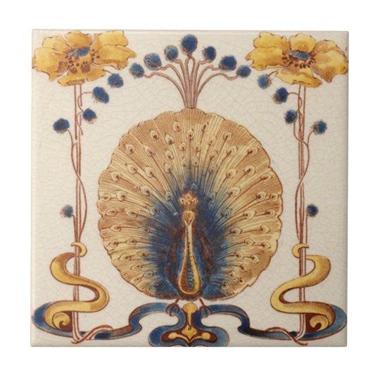 Art Nouveau Vintage Peacock Design Feature Tile