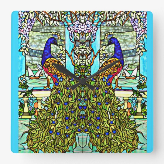 Art Nouveau Vintage Tiffany Stained Glass Peacock Square