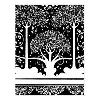 Art Nouveau Vintage Tree Pattern Postcards
