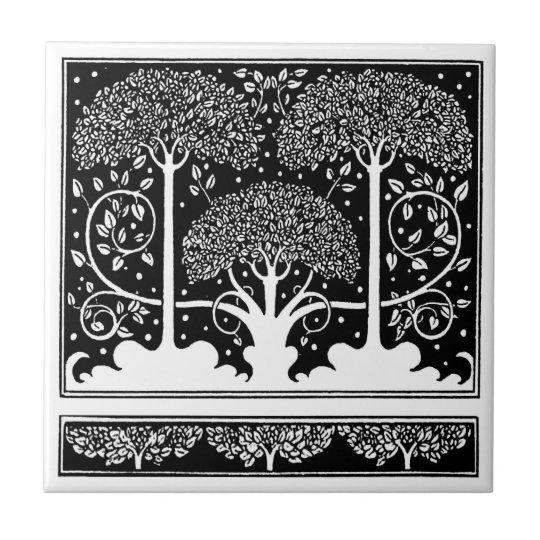 Art Nouveau Vintage Tree Pattern Small Square Tile