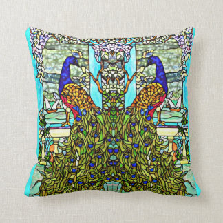 Art Nouveau VintageTiffany Stained Glass Peacock Cushion
