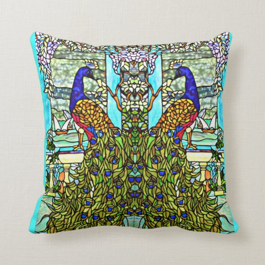 Art Nouveau VintageTiffany Stained Glass Peacock Throw Pillow