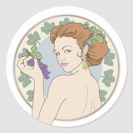 Art Nouveau Wine Lover Girl with Grapes Classic Round Sticker