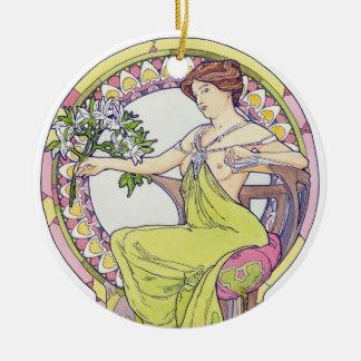 Art Nouveau Woman- Double Sided Round Ceramic Decoration