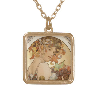 art nouveau woman gold plated necklace