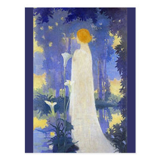 Art Nouveau Woman with Calla Lilies Postcard
