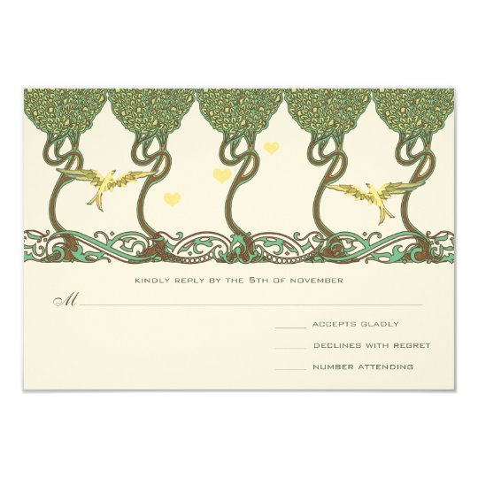 Art Nouveau Woodland Vintage Bird Wedding Invites