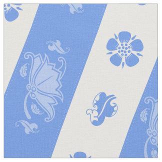 Art Nouvous Floral Motif in Cornflower Blue Fabric