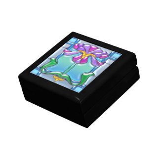 Art Noveau Iris Stained Glass Small Square Gift Box