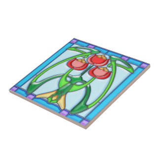 Art Noveau Tulips Stained Glass Tile