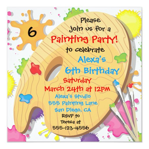 Art painting birthday party invitations zazzle for Paint party invitations free