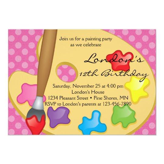Art Painting Pink Birthday Invitations