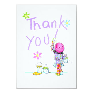 Art Party thank you note 13 Cm X 18 Cm Invitation Card