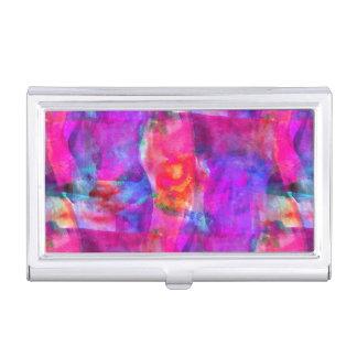 Art pink, blue, red texture background business card holder
