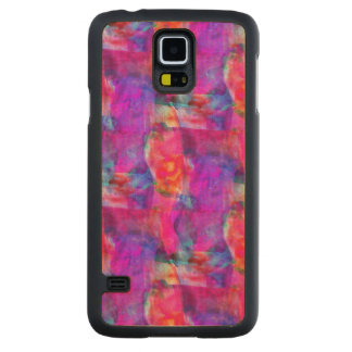 Art pink, blue, red texture background carved maple galaxy s5 case
