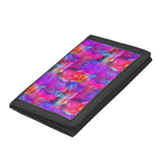 Art pink, blue, red texture background trifold wallet
