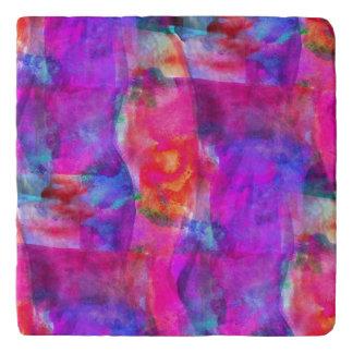 Art pink, blue, red texture background trivet