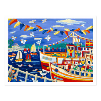 Art Postcard: Beany Hats & Pleasure Boats Falmouth Postcard